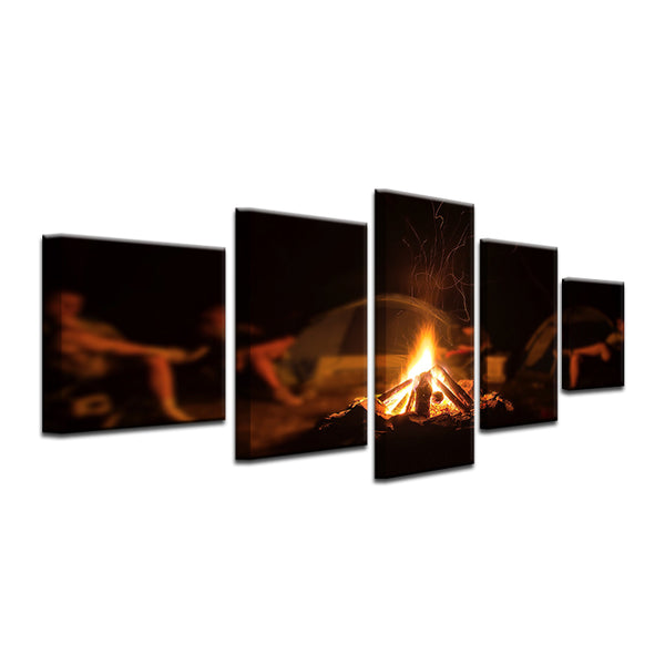 Camping Camp Fire 5 Panel Canvas Print Wall Art