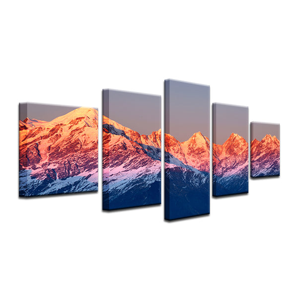 Sun Set In The Rocky Mountains 5 Panel Canvas Print Wall Art