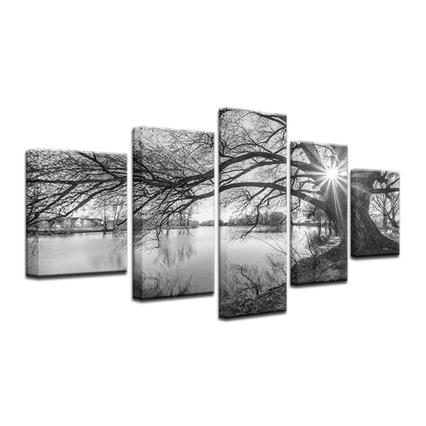 Black And White Tree 5 Panel Canvas Print Wall Art