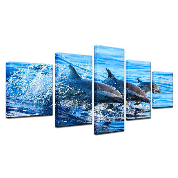Striped Dolphins Playing In The Surf 5 Panel Canvas Print Wall Art