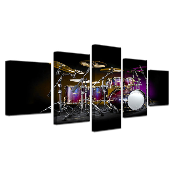 Drum Set On Stage 5 Panel Canvas Print Wall Art