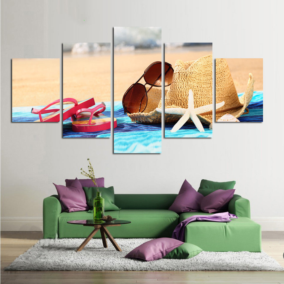 Beach Scene Flip Flops Sunglasses 5 Panel Canvas Print Wall Art