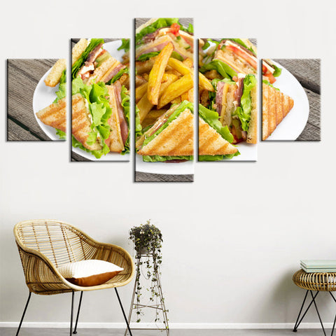 Deli Club Sandwich And French Fries 5 Panel Canvas Print Wall Art