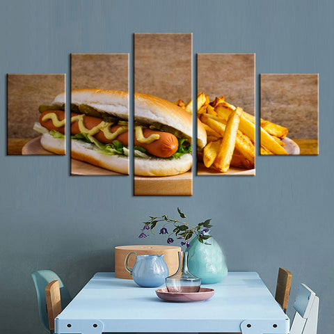 Deli Hot Dog And French Fries 5 Panel Canvas Print Wall Art