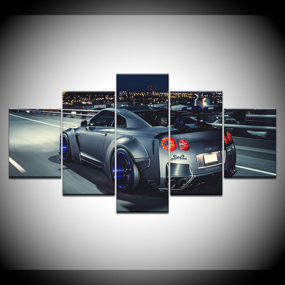 Nissan GT-R 5 Panel Canvas Print Wall Art