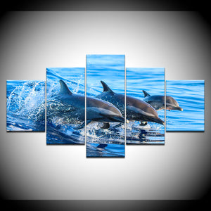 Striped Dolphins 5 Panel Canvas Print Wall Art