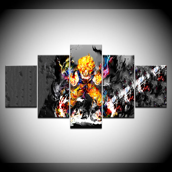 Goku Super Saiyan Dragon Ball Z 5 Panel Canvas Print Wall Art