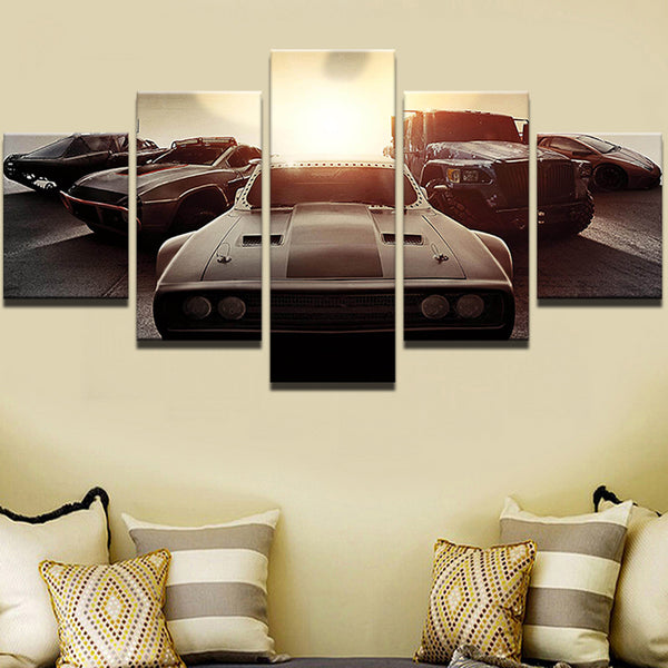 Fast And Furious 8 Fate F8 5 Panel Canvas Print Wall Art