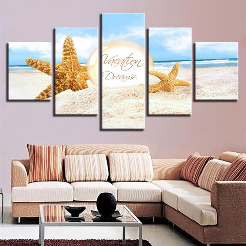 Vacation Dreams Beach Scene Travel 5 Panel Canvas Print Wall Art