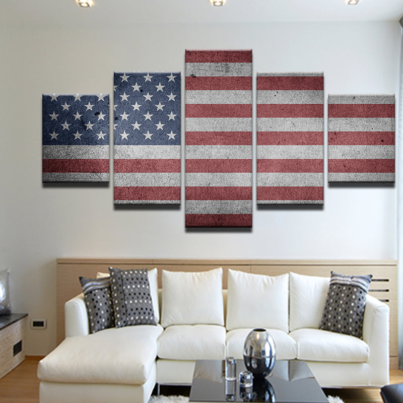 American Flag 5 Panel Canvas Print Wall Art
