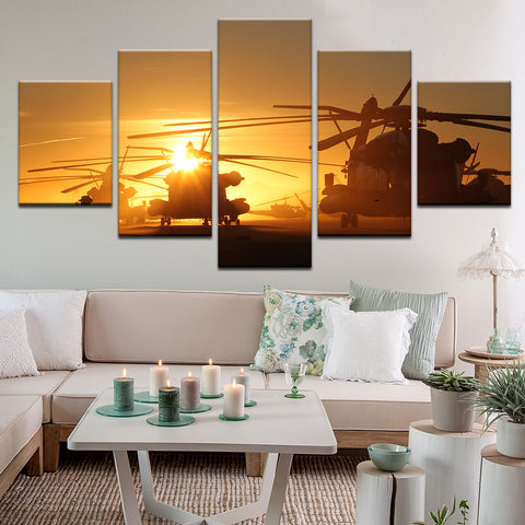 US Army Helicopters 5 Panel Canvas Print Wall Art