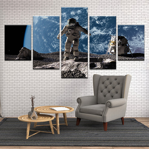 Astronaut On The Moon Illustration 5 Panel Canvas Print Wall Art