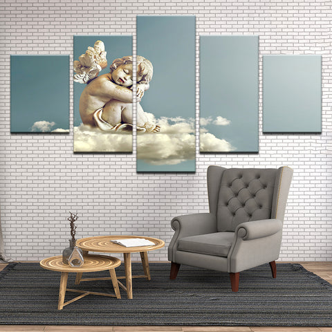 Baby Angel Statuette On Cloud Painting 5 Panel Canvas Print Wall Art