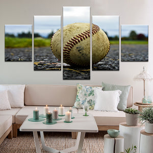 Baseball 5 Panel Canvas Print Wall Art