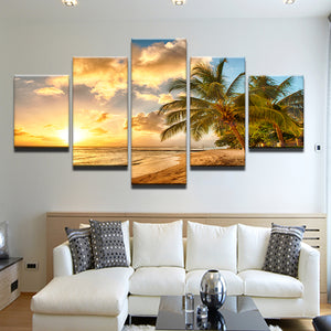 Palm Trees On The Beach At Sunrise 5 Panel Canvas Print Wall Art