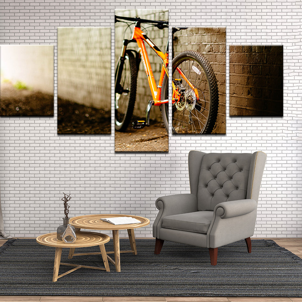 Mountain Bike In The Alley 5 Panel Canvas Print Wall Art