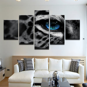 Blue Eyed Leopard 5 Panel Canvas Print Wall Art