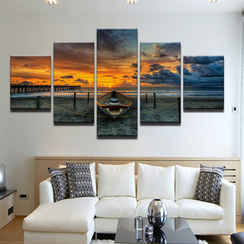 Boat On The Beach 5 Panel Canvas Print Wall Art