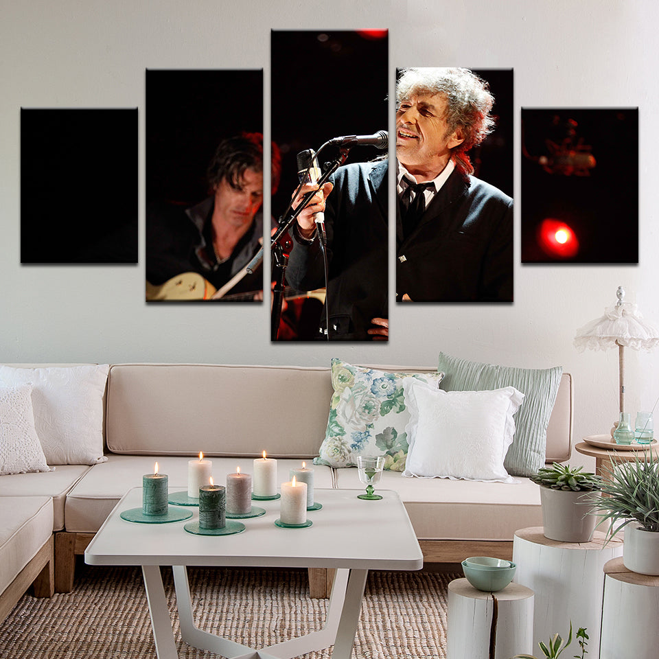Bob Dylan 5 Panel Canvas Print Wall Art