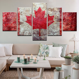 Canada Canadian Flag 5 Panel Canvas Print Wall Art