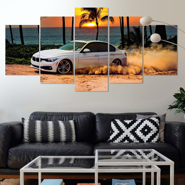 BMW 5 Series Drifting On Beach 5 Panel Canvas Print Wall Art