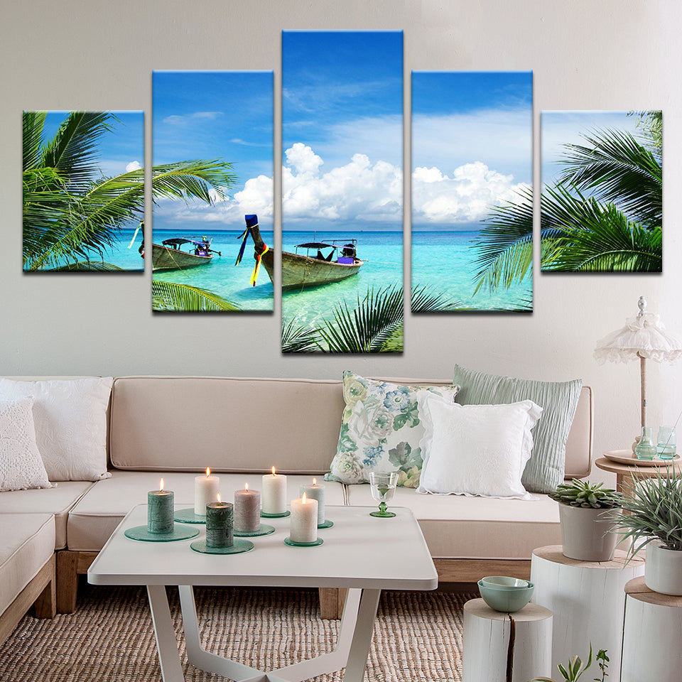 Carribean Fishing Boats On Palm Tree Beach 5 Panel Canvas Print Wall Art