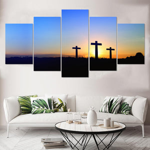 Crosses At Dawn 5 Panel Canvas Print Wall Art