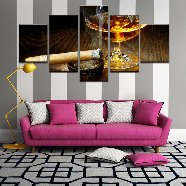 Whiskey And Cigar 5 Panel Canvas Print Wall Art