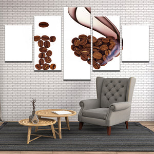 I Love Coffee Heart 5 Panel Canvas Print Wall Art