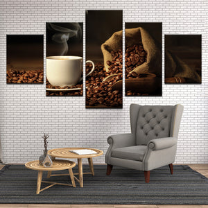 Coffee Cafe Restaurant Coffee Shop 5 Panel Canvas Print Wall Art