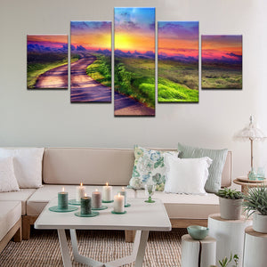 Rainbow Sunset 5 Panel Canvas Print Wall Art