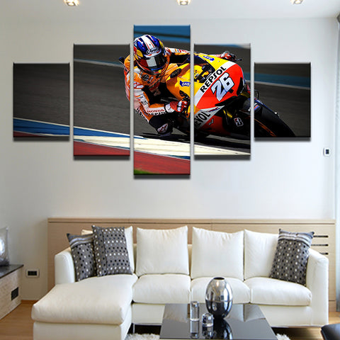 Grand Prix Motorcycle Racing Dani Pedrosa 5 Panel Canvas Print Wall Art