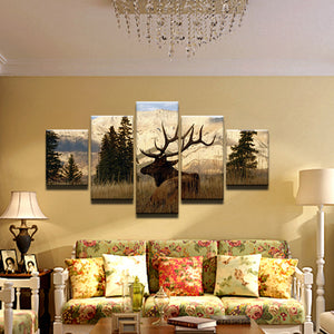 Deer In Field 5 Panel Canvas Print Wall Art