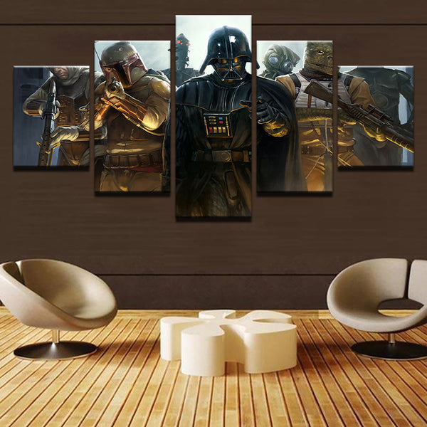 Star Wars Darth Vader And The Bounty Hunters 5 Panel Canvas Print Wall Art Canvas Print Got It Here
