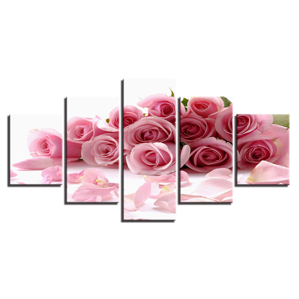 Pink Roses 5 Panel Canvas Print Wall Art Canvas Print Got It Here