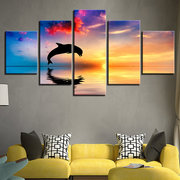 Bottlenose Dolphin Jumps At Sunset Gulf Of Mexico 5 Panel Canvas Print Wall Art Canvas Print Got It Here