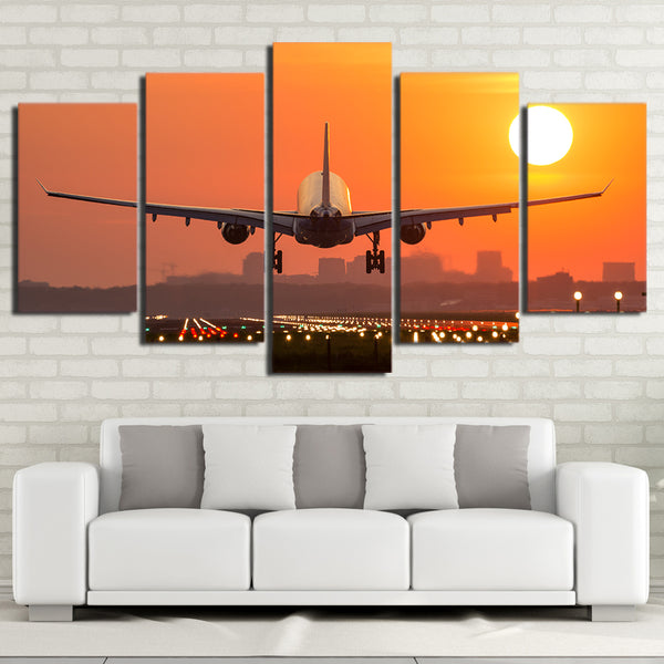 Boeing 737 Jet Landing At Sunset 5 Panel Canvas Print Wall Art Canvas Print Got It Here