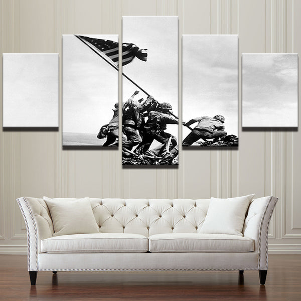 Iwo Jima US Marines World War II Flag Raising 5 Panel Canvas Print Wall Art Canvas Print Got It Here