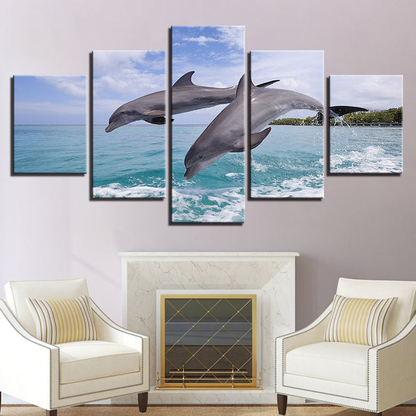 Wild Bottlenose Dolphins Jumping 5 Panel Canvas Print Wall Art Canvas Print Got It Here