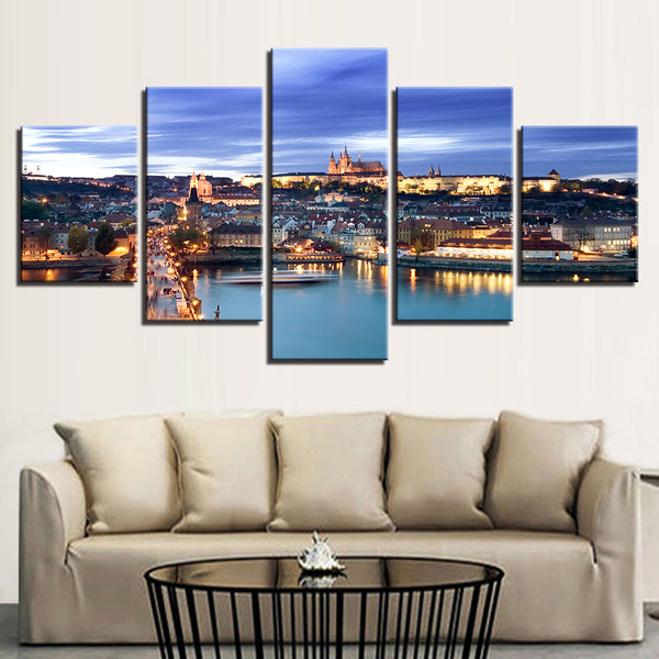 Prague Czech Republic Castle and Vltava Riverfront 5 Panel Canvas Print Wall Art Canvas Print Got It Here
