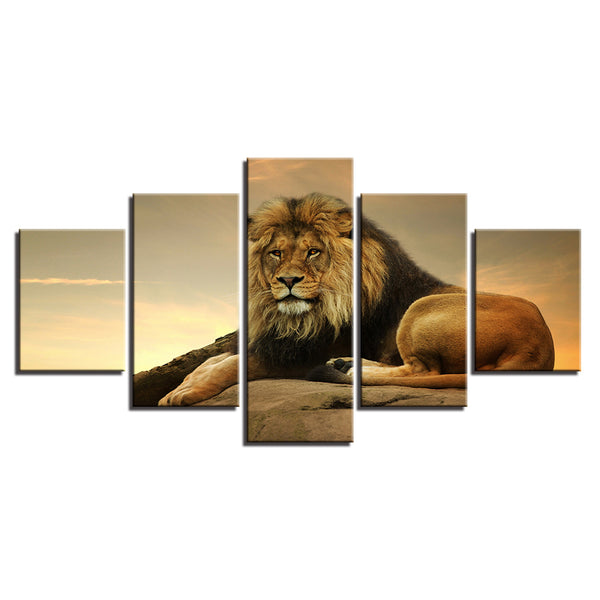 Lion 5 Panel Canvas Print Wall Art Canvas Print Got It Here