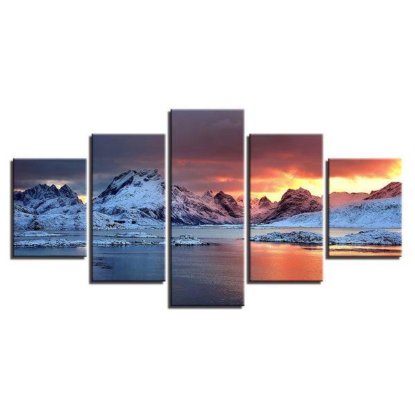 Sunset Over The Glacier Whistle Stop Alaska 5 Panel Canvas Print Wall Art Canvas Print Got It Here