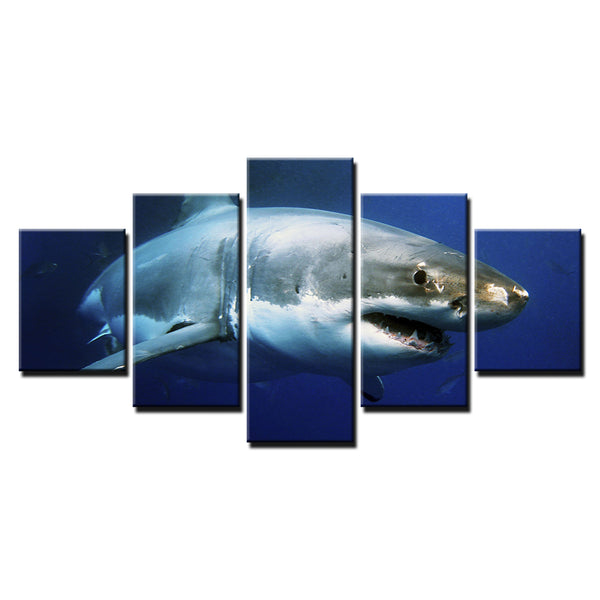 Great White Shark 5 Panel Canvas Print Wall Art Canvas Print Got It Here