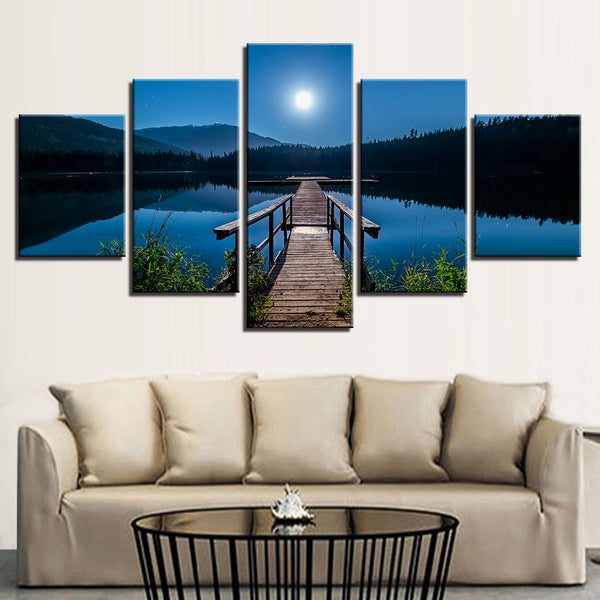 Midnight Moonlight Dock On The Lake 5 Panel Canvas Print Wall Art Canvas Print Got It Here