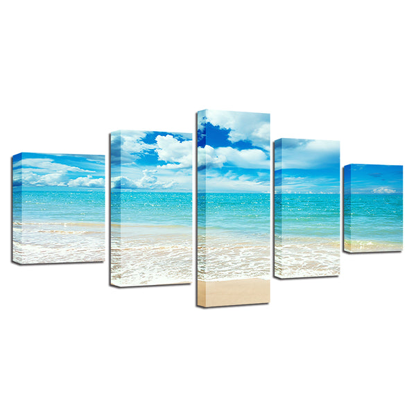 The Perfect White Sand Beach 5 Panel Canvas Print Wall Art Caribbean Bahamas Canvas Print Got It Here