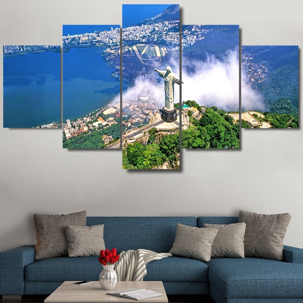 Christ The Redeemer Rio De Janeiro Brazil 5 Panel Canvas Print Wall Art Canvas Print Got It Here