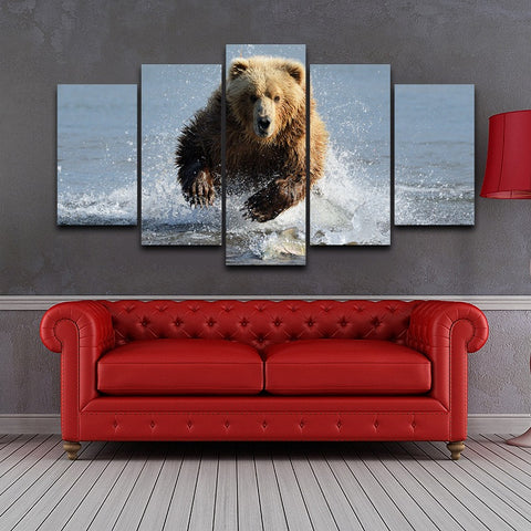 Grizzly Bear In The Water 5 Panel Canvas Print Wall Art Canvas Print Got It Here
