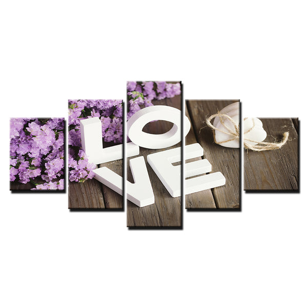 Lavender LOVE 5 Panel Canvas Print Wall Art Canvas Print Got It Here