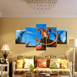 Pokemon Charizard 5 Panel Canvas Print Wall Art