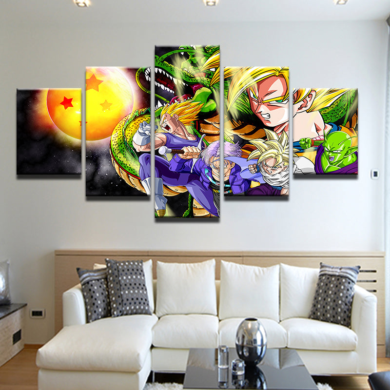 Dragon Ball GT 5 Panel Canvas Print Wall Art
